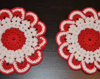 Vintage Set of 2 Hand Crocheted Red and White Doilies,  Vintage Linen
