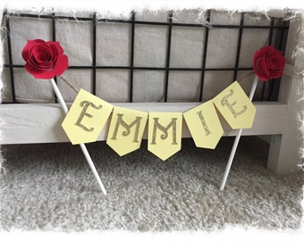 Personalized Cake Topper-Beauty and the Beast, Be Our Guest, Tale as old as Time- Birthday, Baby Shower, Bridal Shower