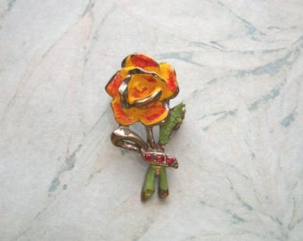 "Vintage Rustic Flower brooch,Silver tone,Orange Yellow Enamel,Red Rhinestones,1 1/2"" by 3/4"",pin,wedding,costume jewelry,scarf pin,hat pin"