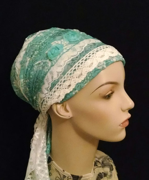 Lovely lace Sinar tichel with flower accent, tichels, head wraps, chemo scarves, mitpachat