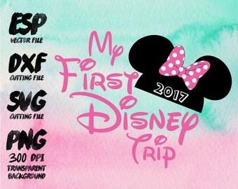 My first Disney trip Minnie Clipart , SVG Cutting , ESP Vectors files , T shirt , iron on , sticker ,Personal Use