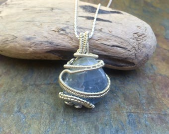 Celestite - Sterling Silver Wire Wrapped Pendant - Blue Crystal Necklace - Celestite Necklace - Handmade Wire Wrap - Healing Crystal Jewelry