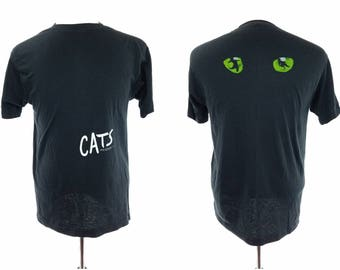 80s Cats Broadway Show Musical Soft Black T-Shirt, Vintage Mens XL (Medium)