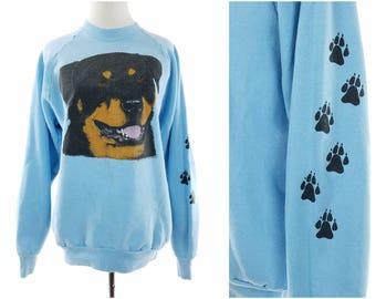 80s Rottweiler Dog Sweatshirt, Light Blue Crewneck Pullover, Vintage Womens Large
