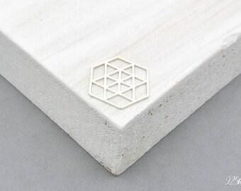 925 Sterling Silver hexagon, silver hexagon, hexagon pendant, hexagon charms, little hexagon, hexagon, geometric