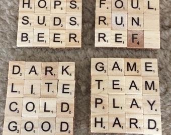 Scrabble coasters sports/beer