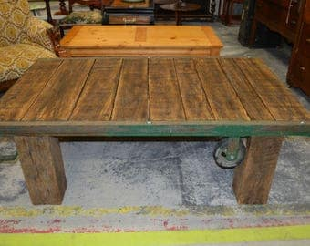 """Custom Made Industrial Cart Coffee Table with Solid Wormy Oak 6"""" X 6"""" Legs"""