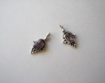 Sterling silver amethyst charms (2pcs), amethyst drop beads, sterling drop beads, small silver pendant, small amethyst pendants