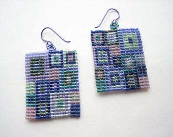 Purple glass earrings, seed bead earrings, bead woven earrings, delica bead earrings, mosaic earrings, glass square earrings, patchwork