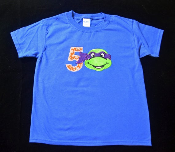 Ninja Turtle  Birthday Shirt- Child Birthday Shirt- Personalized Birthday Shirt- Embroidered Birthday Shirt- Birthday Shirt