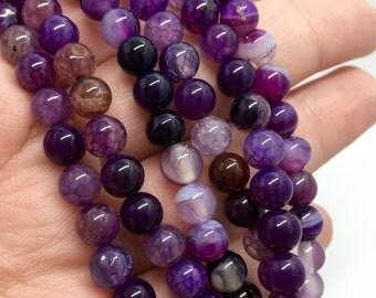 6mm Striped Agate Gemstone Beads - Purple  Striped Agate - 13.5 inch Full strand - Round Gemstone Beads