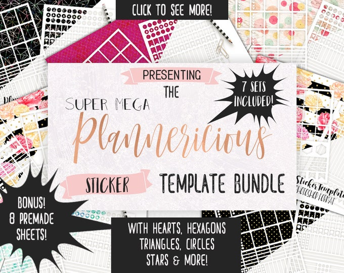 PLANNER STICKER TEMPLATES Big Bundle Personal or Commercial Use Blank Diy Sticker Templates Ec Life Planner Digital Stickers Erin Condren