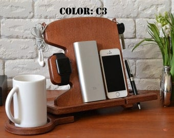 Modern Office Decor Office Birthday gift mobile phone stand smartphone android dock charging station organizer desktop business card holder