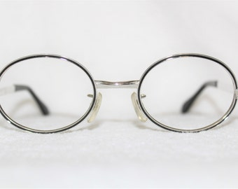 Vintage Womens Metal Eyeglass Frame, NOS, Filly GWO, Silvertone with Black Enamel Outline, 49-20-135, New Old Stock, Japan, Item 19