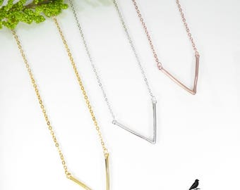 Plain V Necklace 925 Silver Yellow Rose Gold