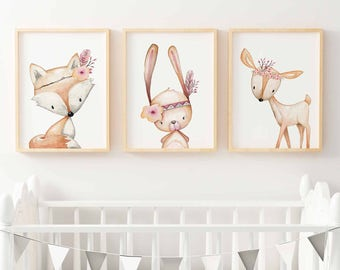 Woodland Nursery Prints | Forest Animal Wall Art | Floral Woodland Nursery  Decor | Nursery Print