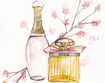 Watercolor perfume print. J'adore and Chloé.