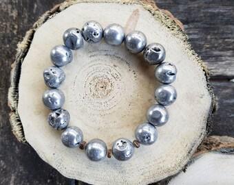 Silver Druzy Agate + Amber Wood Bead Chunky Bracelet – Men's + Women's Rustic Modern Jewelry by Idle King