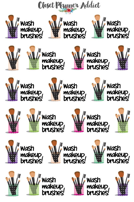 Wash Makeup Brushes Reminder Stickers