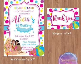 Barbie Birthday/ Pool Party with thank you note