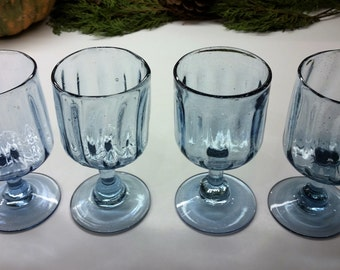 HAND BLOWN GLASS Wine Goblets Vintage Set of 4 Light Blue 1990's Barware water glass