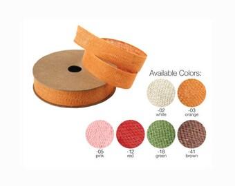 Cotton Linen Blend Fabric Ribbon, 5/8-inch, 25-yard- Choose
