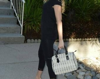 Duffle bag, small duffle bag, womens duffle bag, mini duffle bag, women's handbag, ikat duffle bag, black and white duffle bag,makeup bag