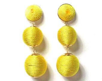 3-Tiers Of Yellow Silky Sheen Disco Ball Drop Statement Earrings