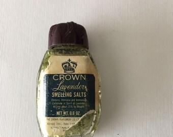 Antique bottle with lavender smelling salts.  Vintage aromatherapy!  1930. Tiny bottle still filled with restorative salts.