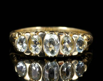 Aquamarine Five Stone 9ct Gold Ring