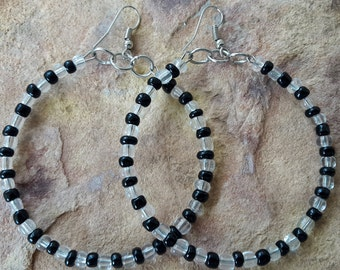 Beaded handmade black silver clear big hoop circle earrings cute spring summer prom wedding bridesmaid fashion modern trendy elegant Africa
