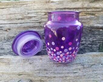 Purple confetti glass stash jar, purple polka dot stash jar, purple stash jar, purple  treasure jar, herb jar, dotted stash jar
