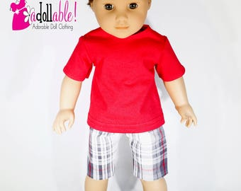 American made Boy Doll Clothes, 18 inch Boy Doll Clothing, boy doll tee shirt with plaid shorts made to fit like American girl doll clothes