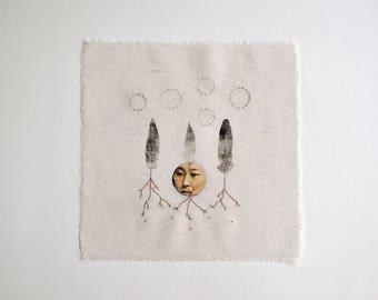 Seed woman / Original artwork. Botanical print, embroidery, cotton textile.