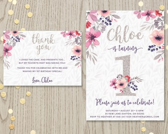 Printable invitation and/or thank you card with pink and purple florals and silver glitter script text for baby girls first birthday DIGITAL