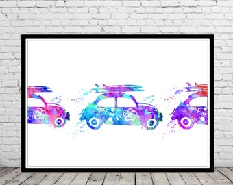 VW buggy with surfboard, Volkswagen bug with Surfboard, Surfboard,Surf print,Ocean art, surfboard print,sealife, watercolor Surfboard(2780b)