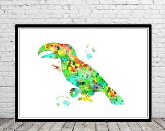 Toucan, Toucan art, watercolor Toucan, Toucan print, bird, wall decor, watercolor bird, Toucan bird (2977b)