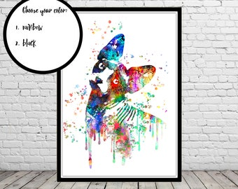 Devon Rex, Sphynx, Sphynx Cat, Cat, cat print, watercolor print, watercolor Devon Rex, watercolor Sphynx, cat, cat art, Sphynx cat (2239b)