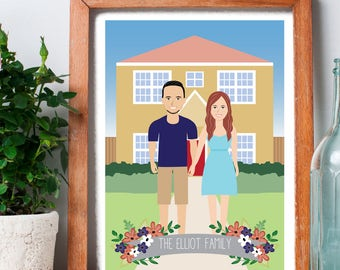 Custom illustrated family portrait, family house in the background, family drawing, custom background, house warming gift