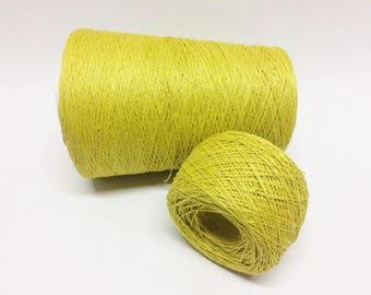 100g 100% linen yarn 3ply linen thread yellow machine knitting yarn
