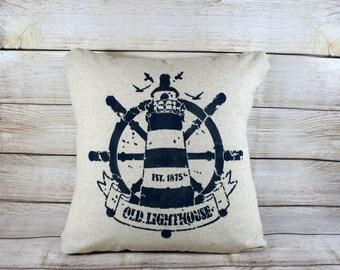 Throw Pillow - Lighthouse, Nautical Decor