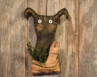 Primitive Handmade Bunny with Pocket and Little Bunny