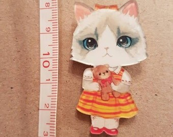 Cute little kitty cat kitten brooch badge pin acrylic