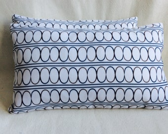 Geometric Designer Lumbar Pillow Covers - White/ Blue/ Brown - 2pc Set - 12x20 Covers
