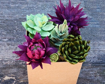 Set of Twelve Paper Succulents - Crepe Paper Succulents - Paper Succulents - Paper Succulents for wedding - Paper Flowers - Mothers Day Gift