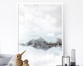 Mountains Print, Minimalist Landscape Print, Gift, Monochrome Art ,Snow Print,Nature Art, 50x70cm/18x24in,Abstract Print, Affiche Scandinave
