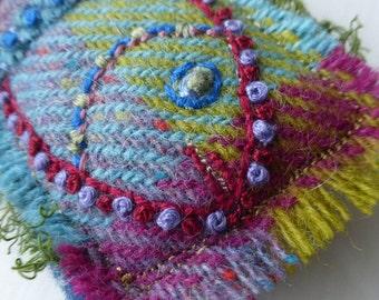 Tweedie fish brooch, Irish tweed brooch, embroidered fish brooch, tweed brooch, fish brooch