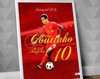 Philippe Coutinho Print / Little Magician / Liverpool FC / Print / Premier League / UK / England / Brazil / soccer / football / soccer art