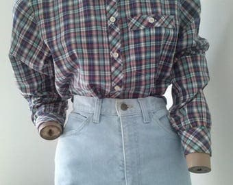 90s plaid checked l/s shirt size 10