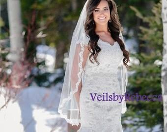 1 tier Fingertip Lace Veil- Elbow Lace Veil-Hip Lace Veil-Short Lace Veil-1 tier Lace Fingertip Wedding Veil-Slim Embroidery Lace Veil V635